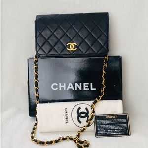 CHANEL Lambskin Quilted 24k Chain Full Flap Bag